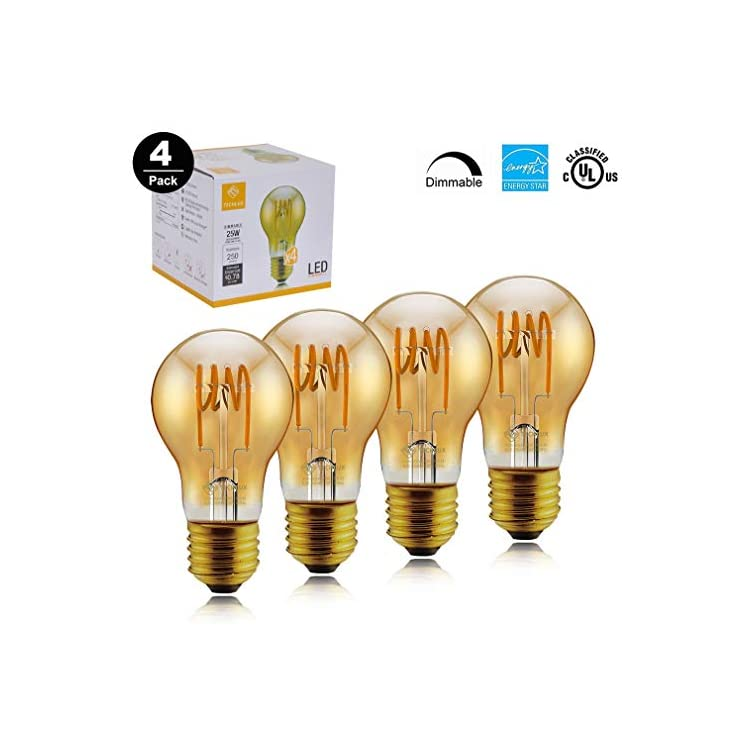A19-Dimmable-Vintage-Flexible-Spiral-Flexible-LED-Filament-Lights-Bulb-Vintage-Amber-Glass-LED-Reading/Bedroom/Bar-Lighting,30W-Equivalent,Warm-White-2000K,E26,Pack-of-4