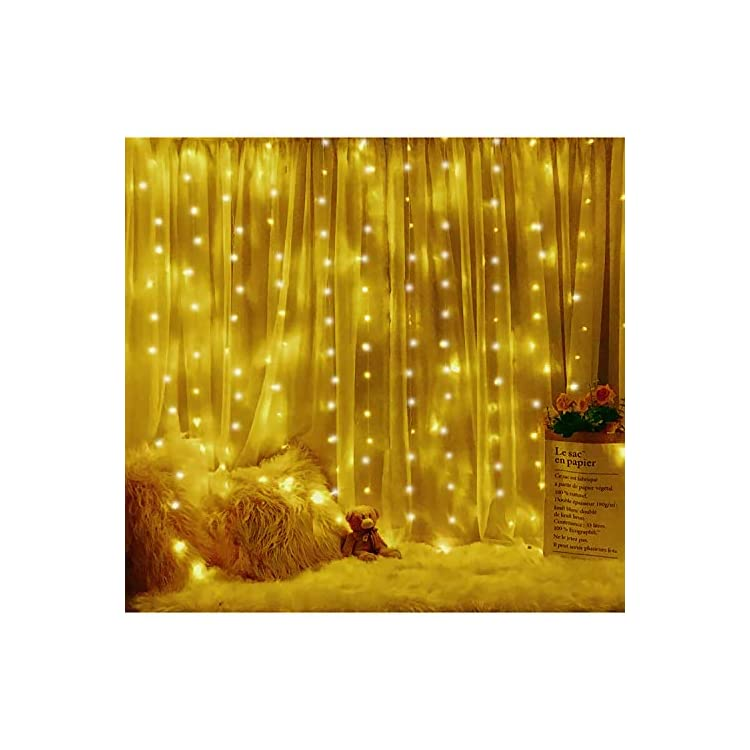 Window-Curtain-String-Light-300-LED-8-Lighting-Modes-Fairy-Lights-Remote-Control-USB-Powered-Waterproof-Lights-for-Christmas-Bedroom-Party-Wedding-Home-Garden-Wall-Decorations,(Warm-White)