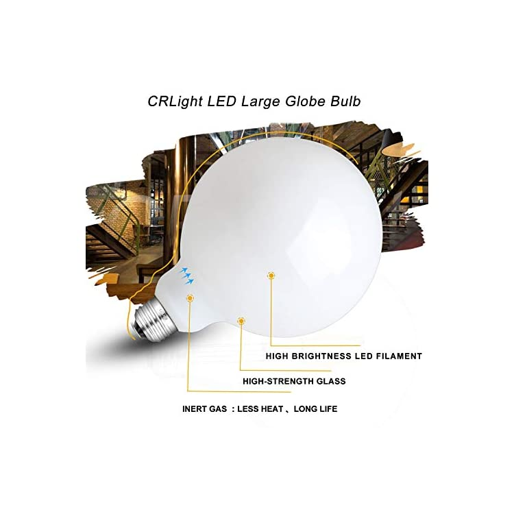 12W-Dimmable-LED-Large-Globe-Bulb-80W-Equivalent-800LM,-2700K-Warm-White-E26-Base,-Vintage-Edison-G125-Large-Milky-Pearl-Glass-LED-Filament-Light-Bulbs,-Smooth-Dimming-Version