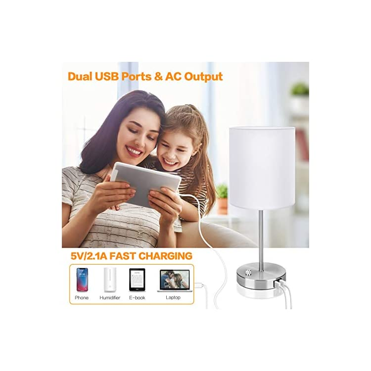 Dimmable-Bedside-Lamp-with-2-USB-Port,-AC-Power-Outlet-and-60W-Equival