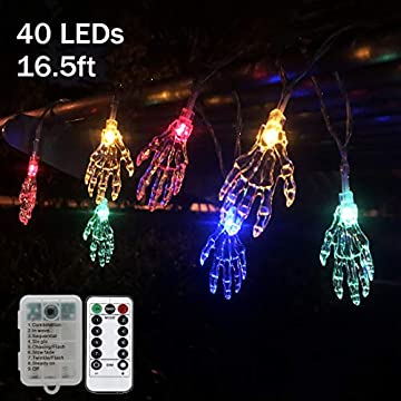 Spooky-Hand-Halloween-String-Lights,40-LED-16.5-ft-Skeleton-Hand-Lights-8-Lightning-Modes-with-Remote-Control-Battery-Operated/USB-Decorations-Waterproof-for-Outdoor-Indoor-Halloween-Party,Hand