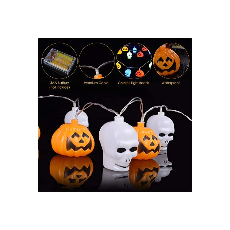 Halloween-Lights,20-LED-Halloween-String-Lights-3D-Skull-and-Pumpkin-Halloween-Decorative-Light-for-Indoor-Outdoor-Party-Ideas-(Multi-Color)