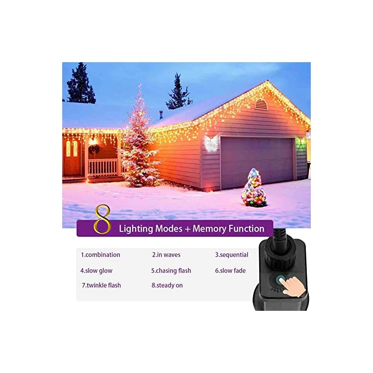 Icicle-LED-String-Lights,Icicle-100Leds-extendable-Lights,-String-Light-for-Eaves-Decoration,-Low-Voltage-29V-Fairy-Lights-for-Party,Wedding,Garden,Holiday-(100LED-Extendable,-Warm-White)