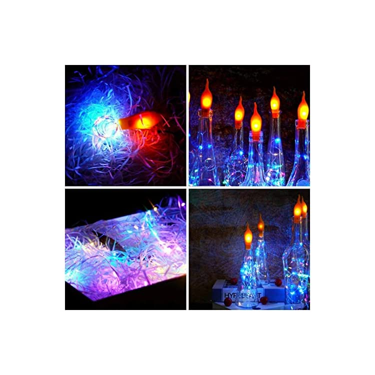 Wine-Bottle-Lights,-Cork-Shape-Flame-LED-Flickering-Fairy-Lights-15-Pack-20-LED/Strand-Battery-Operated-Silver-Wire-String-Lights-for-Party-Christmas-Halloween-Wedding-Church-Decoration-(Multi)