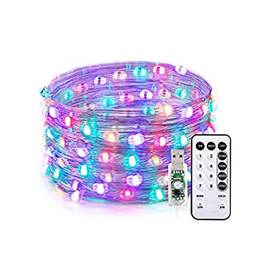LED-String-Lights,Christmas-Decorations-Lights-33ft-100-LED-USB-Powered-Dimmable-Copper-Fairy-String-Lights,Warm-White-&-4-RGB-Colors,16-Lighting-Modes,-Remote-Control,IP65,Decorative-Light
