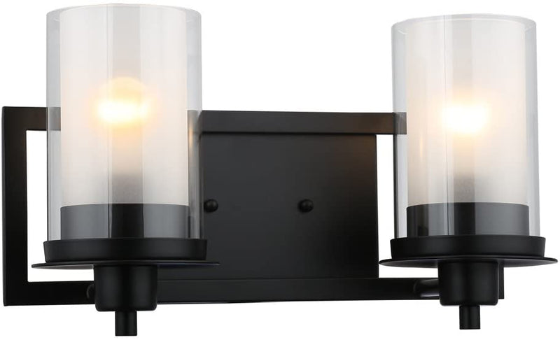 Juno-Matte-Black-2-Light-Wall-Sconce/Bathroom-Fixture-with-Clear-and-Frosted-Glass:-73483