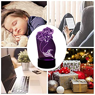 Mermaid-3D-Illusion-Night-Light,-The-Little-Mermaid-LED-Night-Light-for-Kids,-7-Colors-Table-Lamp,-Ocean-Princess-Girls-Bedroom-Decor-Light,-Baby-Sleep-Night-Lamp,-Children-Gift-Lamp