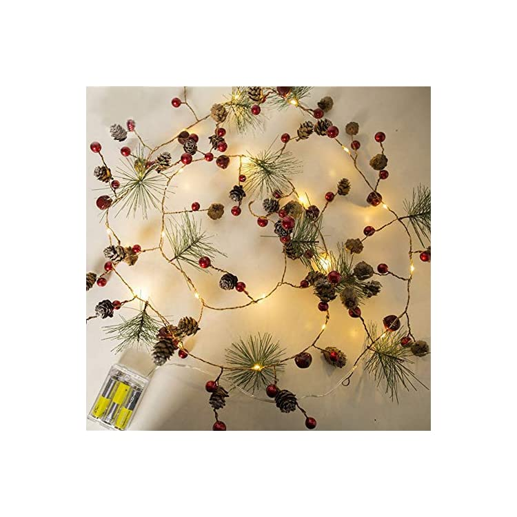 Christmas-Lights,-Garland-with-Lights,-Fairy-Lights,-Decoration-Pinecone-Berries-Indoor-and-Outdoor-Christmas-Tree-Lights,-Winter-Holiday-New-Year-Decor.-Battery-Powered-(2M-20-Lights)-(Pine-Cone)