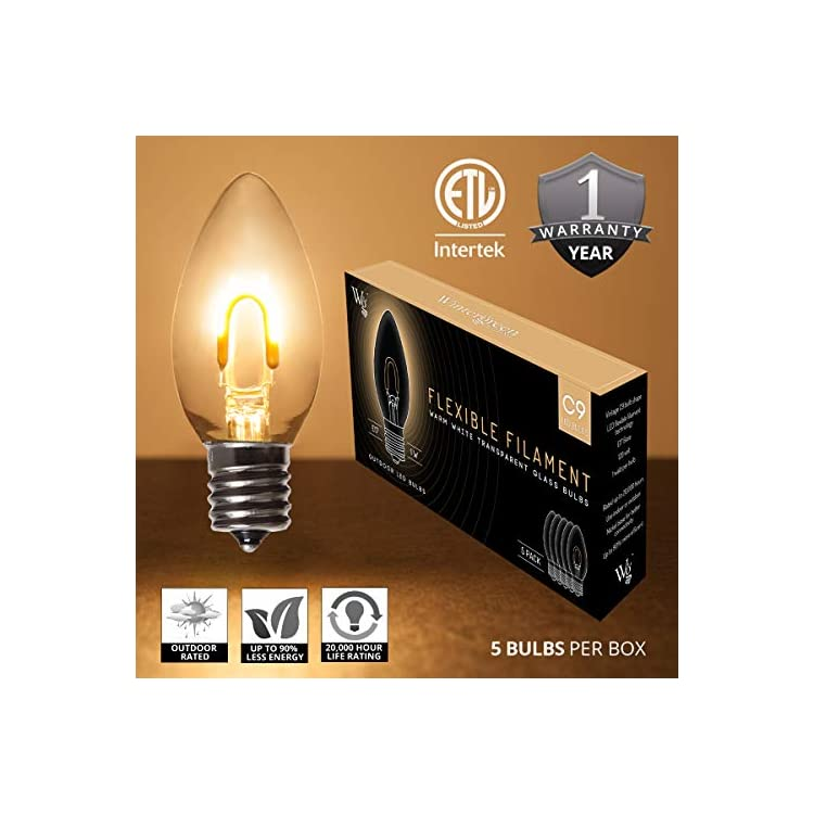 C9-Christmas-Light-Edison-Bulbs,-Vintage-Christmas-Lights-LED,-Pack-of-5-Vintage-Edison-Christmas-Light-Bulbs-LED-Filament,-1-Watt,-E17-Base-(C9,-Warm-White-Glass)