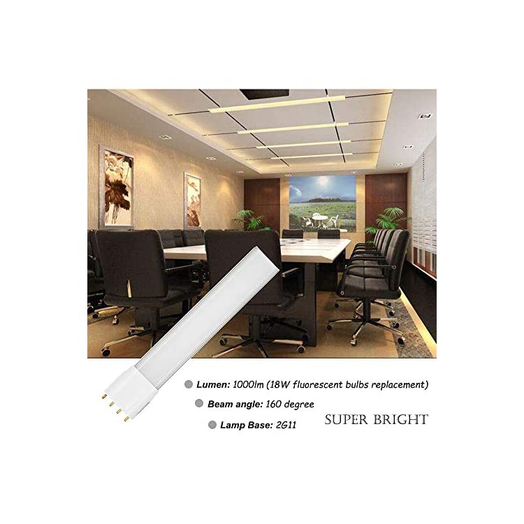 10W-2G11-4-Pin-Base-LED-Light-Bulb-120V-Warm-White-3000K-18W-CFL-Bulbs-Replacement-for-Pendant-Lamps-Ceiling-Lights-Desk-Lamps-(Remove-or-Bypass-Ballast,-2-Pack)