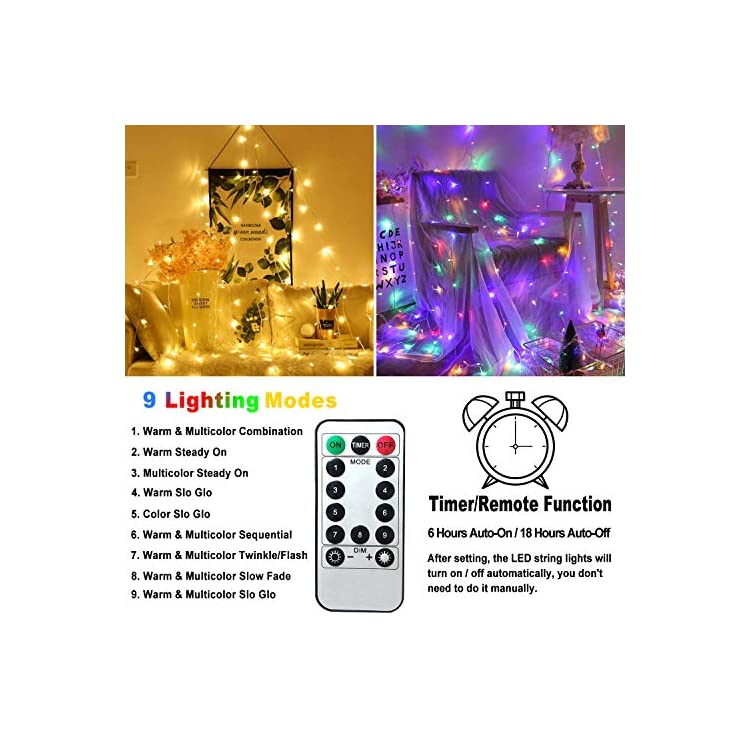 LED-String-Lights-for-Bedroom-Indoor-66ft-200-LED-Multi-Color-Changing-Plug-in-Fairy-Lights-Warm-White-String-Light-9-Modes-Outdoor-Christmas-Tree-Lights-Waterproof-with-Remote&Timer-for-Decor