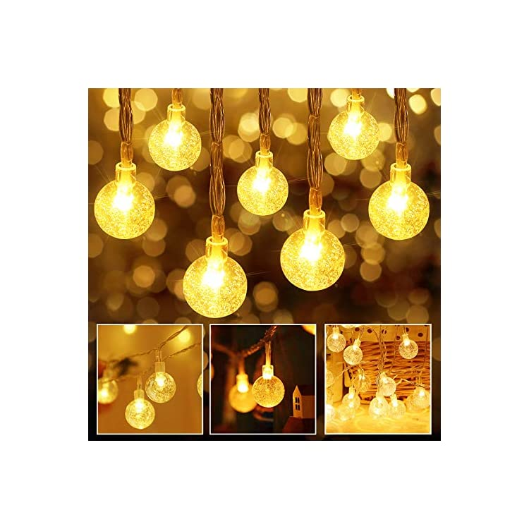Battery-Operated-String-Lights-60LED-30ft-USB-Powered-Crystal-Globe-Christmas-Lights-8-Modes-Fairy-Lights-for-Home,-Bedroom,-Wall,-Wedding,-Party,-Indoor,Outdoor,Warm-White