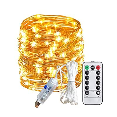 USB-Charger-String-Lights--Christmas-Patio-Indoor-Decor--Decorative-Led-String-Lights--with-Remote-33ft-/100-Meters-Flexible-Copper-Wire-LED-Lights-Decorative-Copper-Wire-Lights