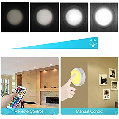 Puck-Lights,-LED-Color-Changing-Puck-Lightings-and-Dimmable-Under-Cabinet-Lights-Battery-Powered-Under-Counter-Lights-with-2-Wireless-Remote-Controls-for-Kitchen(6-Pack)