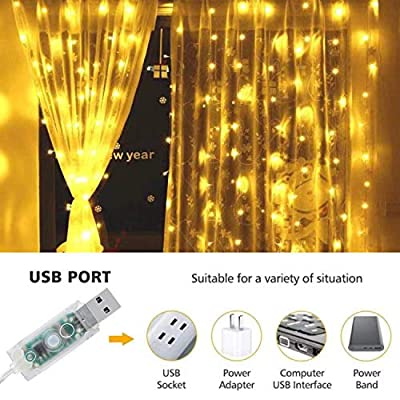 Window-Curtain-String-Light,-300-LED-USB-Powered-String-Lights-Wedding-Party-Home-Garden-Bedroom-Outdoor-Indoor-Wall-Decorations,-Warm-White-(9.8x9.8-Ft)