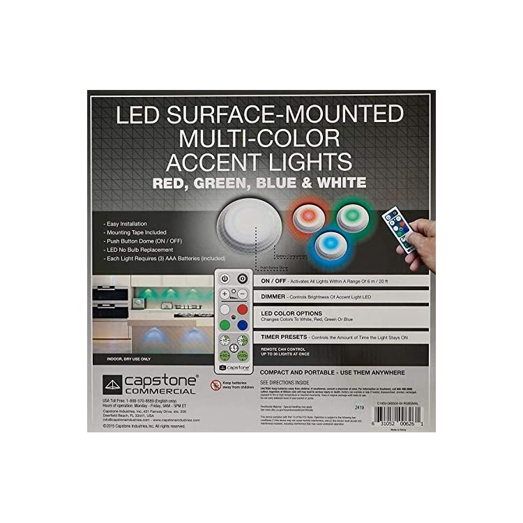 LED-Surface-Mounted-Multi-Color-Accent-Lights,-4-Pack-and-Remote-Control