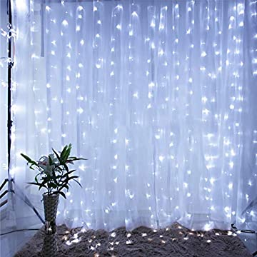 Star-304-LED-9.8ftx9.8ft-30V-8-Modes-with-Memory-Window-Curtain-String-Lights-Wedding-Party-Home-Garden-Bedroom-Outdoor-Indoor-Wall-Decorations(Cool-White)