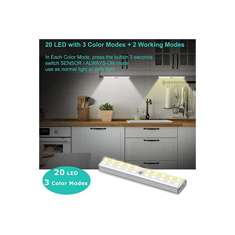 Motion-Sensor-Closet-Lights-Rechargeable-3-Pack,-20-LED-Wireless-Under-Cabinet-Lighting,-Stick-on-Anywhere-Magnetic-Step-Night-Light-for-Wardrobe-Cupboard-Drawer-Kitchen-Stairs,-3-Lighting-Modes