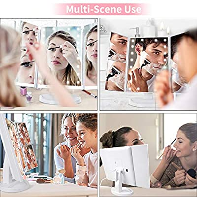 Makeup-Mirror-with-Lights,-Makeup-21-LED-Vanity-Mirror,-Lighted-Up-Mirror-with-Touch-Screen-Switch,-180-Degree-Rotation,-Dual-Power-Supply,-Portable-White-Trifold-Mirror