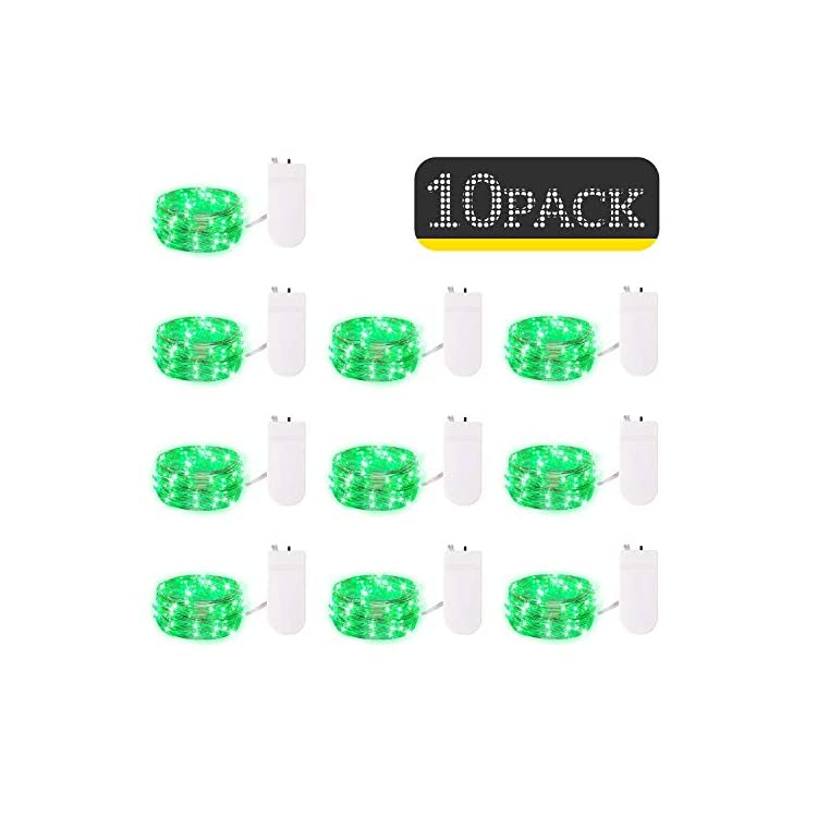 10-Pack-Fairy-Lights-7-Feet-20-LED-Firefly-Lights-Battery-Operated-String-Lights-Silver-Coated-Copper-Wire-Starry-Moon-Lights-for-DIY-Wedding-Bedroom-Indoor-Party-Decoration-(Green)