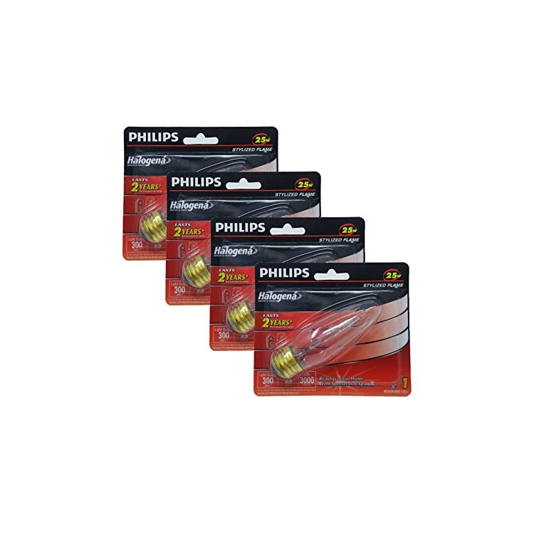 Philips-389064-25-Watt,-300-Lumens,-Clear-Flame-Shape-F10.5-Halogen-Light-Bulb,-E26-Medium-Base-(4-Pack)