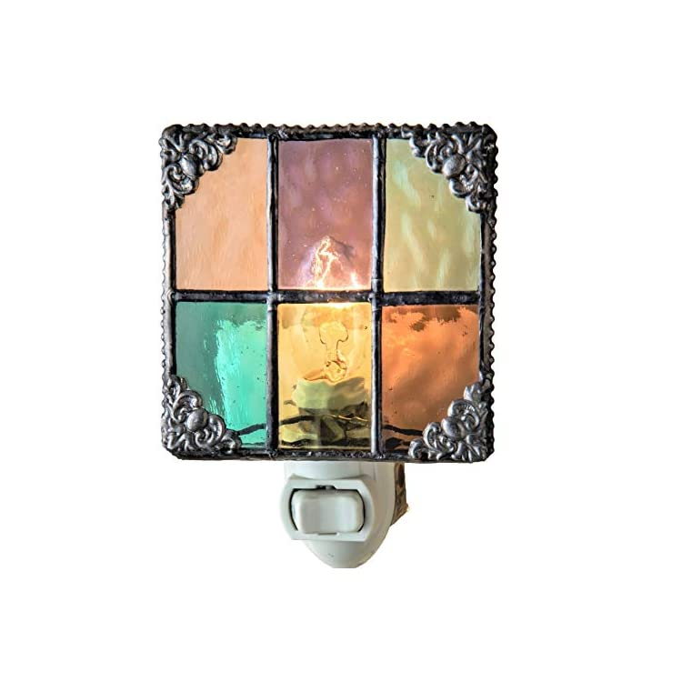 J-Devlin-NTL-165-Multi-Colored-Stained-Glass-Night-Light-Peach-Purple-Green-Aquamarine-Amber-Burgundy-Decorative-Home-Accent-Lite