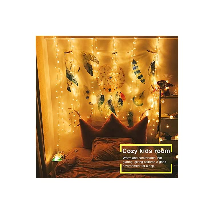 LED-Window-Curtain-String-Light-with-with-Remote-&-Timer-300-LEDs-10-Feet,-Warm-White-Bedroom-Light-for-Home-Garden-Bedroom-Sleeping-Light-Outdoor-Indoor