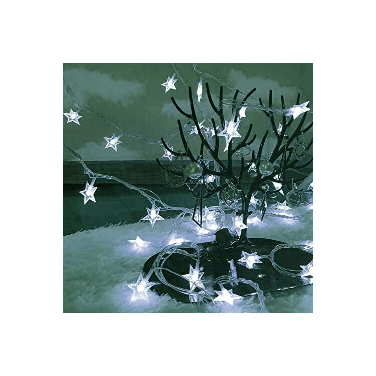 33FT-100-LED-Stars-String-Lights,-Extendable-Plug-in-Twinkle-Starry-Light-Fairy-String-Light-for-Bedroom,-Garden,Wedding,-Teepee,-Christmas-Xmas-Indoor-and-Outdoor-Decoration-(Cool-White)