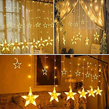Star-Curtain-Lights,-138-LED-12-Stars-Remote-Window-Curtain-String-Lights-Plug-in-with-8-Flashing-Modes-Decoration-for-Christmas,-Wedding,-Bedroom,-Party,-Birthday,-7.3ft(W)×3.3ft(H),-Warm-White