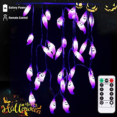 Halloween-String-Lights-Battery-Operated-with-Remote-Control,-30-LED-Purple-Ghost-Halloween-Decorations-for-Outdoor-and-Indoor