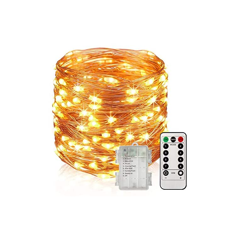 33Ft-100-LED-Waterproof-Fairy-Lights-Battery-Operated,-8-Modes-Copper-String-Lights-with-Remote-Control-for-Bedroom-Dorm-Indoor-&-Outdoor-Decorations