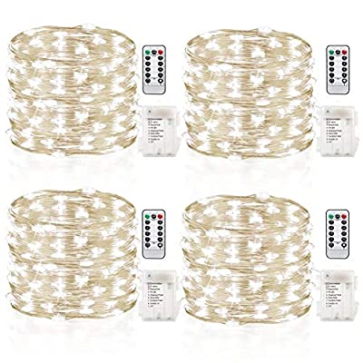 GDEALER-4-Pack-16.4-Feet-50-Led-Fairy-Lights-Battery-Operated-with-Remote-Control-Timer-Waterproof-Copper-Wire-Twinkle-String-Lights-for-Bedroom-Indoor-Outdoor-Wedding-Dorm-Decor-Cool-White-(Renewed)