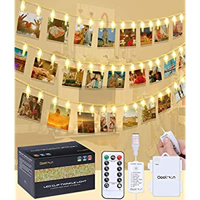 Photo-Clip-String-Lights-with-Remote,-Warm-White-Fairy-Lights-with-USB-Port,-Timer,-Led-Lights-Battery-Operated,-Powered-by-Mobile-Charger,-Power-Bank-for-Room,-Party,-Christmas-Decor