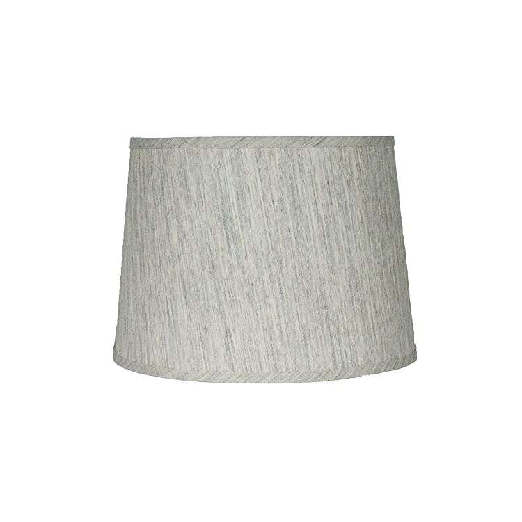 French-Drum-Lampshade,Textured-Flax-Linen,-12-inch,-Spider,-Gray-Tone,