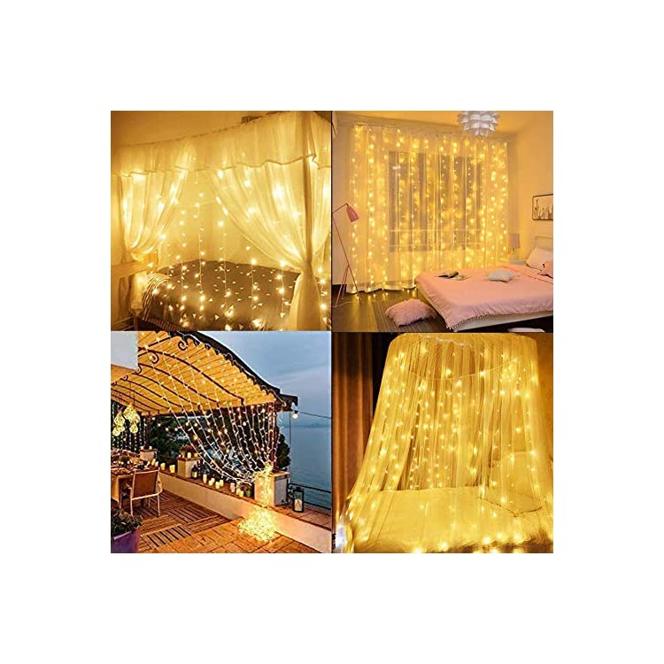 Window-Curtain-Icicle-String-Light,-9.8x9.8ft-16-Drop-String-304-LED-8-Modes-with-Remote-Timer-&-Dimming-for-Bedroom-Garden-Party-Indoor-Outdoor-Wall-Background-Decoration,-Warm-White