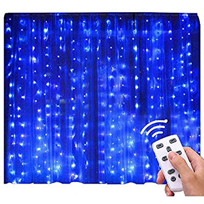 Blue-Curtain-Lights-with-Remote-Control-300-LED-Christmas-String-Fairy-Lighting-Outdoor-Indoor-Decor