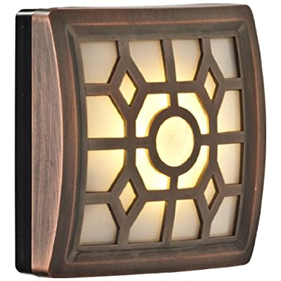 Light-It!-By-Fulcrum,-4-LED-Wireless-Soft-Glow-Motion-Sensor-Light-with-Filigree-Pattern,-Indoor/Outdoor,-Battery-Operated,-Bronze