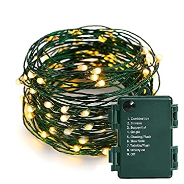 Battery-Operated-String-Lights---18FT-50-Micro-LEDs-Starry-Lights-Christmas-Lights-Fairy-Lights-Firefly-Lights-with-Dark-Green-Copper-Wire-for-Christmas-Tree-Wreath-DIY-Wedding,-Waterproof,-Warm-White