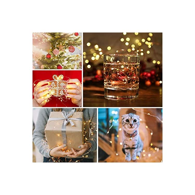 Sunfuny-6PCS-Fairy-Lights-Warm-White-6.6FT-Silver-Copper-Wire-20-Micro-LED-Starry-Twinkle-String-Lights-Battery-Powered-Firely-Lights-2PCS-CR2032-Batteries-for-Costume-DIY-Wedding-Holiday-Decor