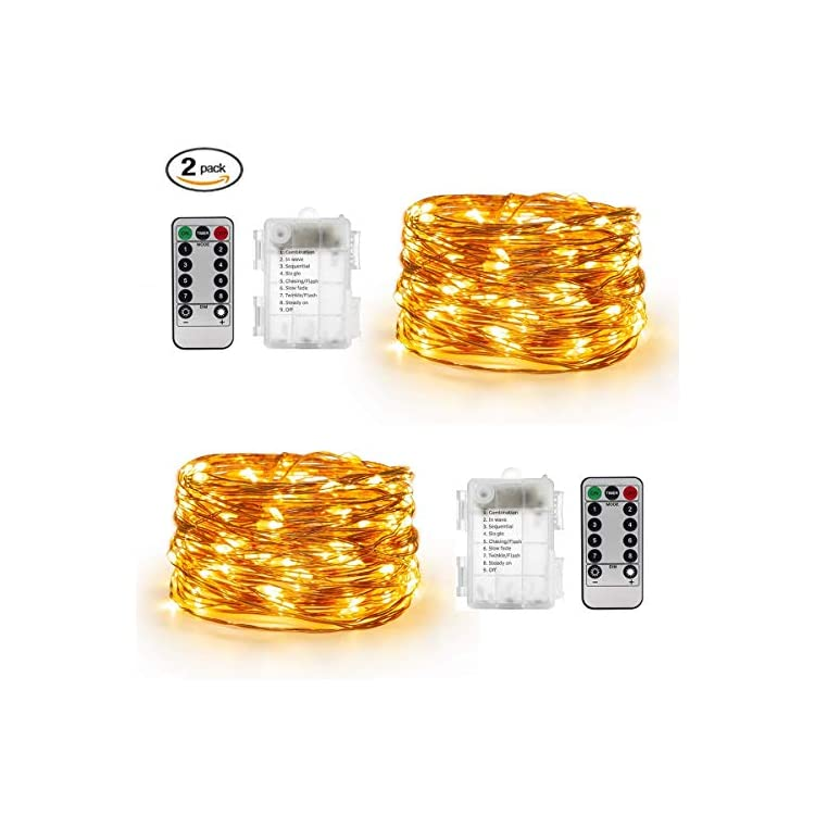 2-Pack-33-Feet-100-LED-Fairy-Lights-Battery-Operated--with-Remote-Control-Timer-Waterproof-Copper-Wire-Twinkle-String-Lights-for-Bedroom-Indoor-Outdoor-Wedding-Dorm-Decor-Warm-White
