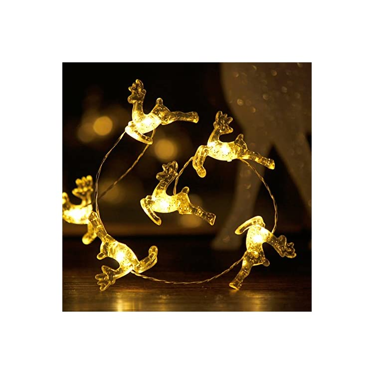 Christmas-Theme-String-Lights,-Santa-Claus-Reindeer,-10-ft-Copper-Wire-50-LEDs-with-Remote-&-Timer-for-Christmas,-Thanksgiving,-Birthday,-Wedding,-Parties,-House,-Bedroom-Decorations