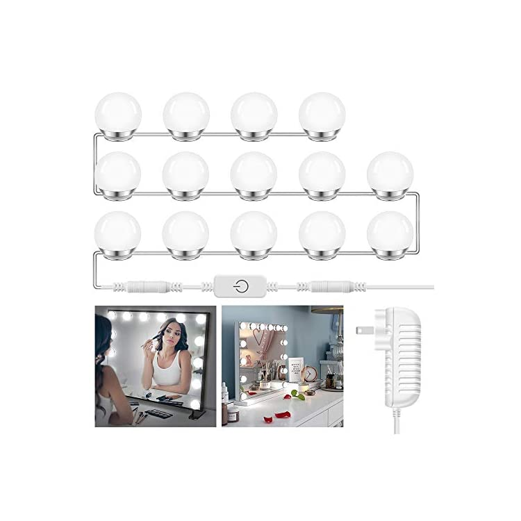Hollywood-Style-Vanity-Mirror-Lights-Kit-with-14-Dimmable-LED-Light-Bulbs-for-Makeup-Dressing-Table-Set,Daylight-White
