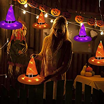 Halloween-Decorations-Outdoor-Hanging-Lighted-Glowing-6PCS-Witch-Hats-