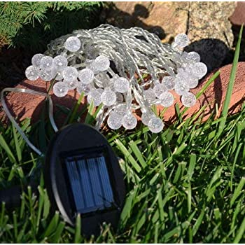 Solar-Outdoor-String-Light,-50-LED-of-5mm-dia.-with-Round-Patterned-Pi