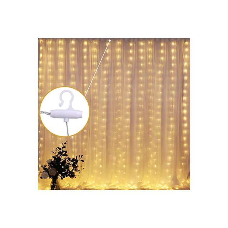 2019-New-Window-Curtain-String-Lights,-300-LED-USB-Powered-String-Lights,-4-Music-Control-Modes-8-Lighting-Modes-Waterproof-Decorative-Lights-for-Wedding,-Homes,-Party,-Bedroom-(9.8x9.8-Ft-Warm-White)