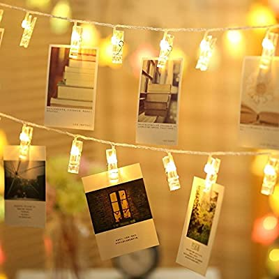 Photo-Clips-String-Lights-20-LED/Holder,-Battery-&-USB-Powered-Design-with-Remote-Control,Watterproof-Design.-Fairy-Twinkle-Home-Decor-Lights-for-Hanging-Photos-Artwork-Indoor/Outdoor