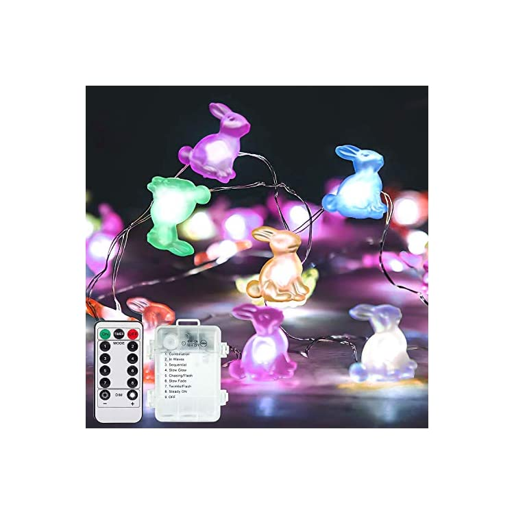 Easter-Decoration-Lights-Rabbit-LED-String-Lights,-13-ft-40-Led,-Battery-Operated-with-Remote,-Bunny-Shaped-String-Lights-for-Easter-Holiday-Party-Home-Yard-Indoor-Outdoor-Decor