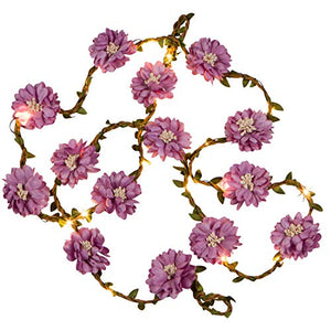 70-Inch-Pink,-Purple,-or-Gray-LED-Lighted-Flower-Garland-–-LED-Flower-String-Lights-(Purple)