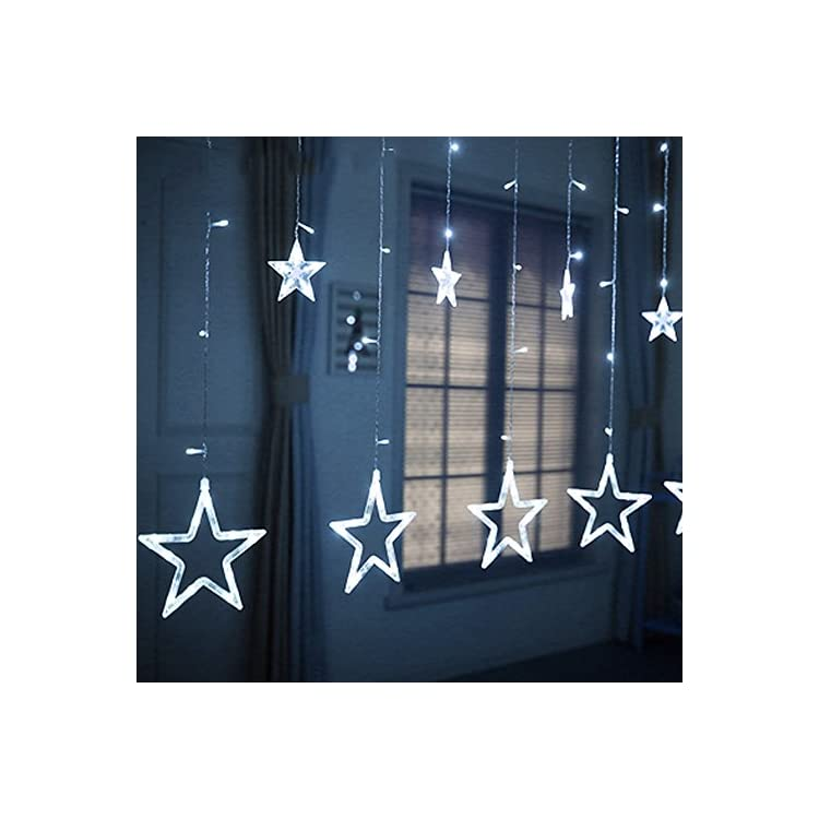 12-Stars-138-LED-Curtain-String-Lights,-Window-Curtain-Lights-with-8-Flashing-Modes-Decoration-Christmas,-Wedding,-Party,-Home-Decorations,-White