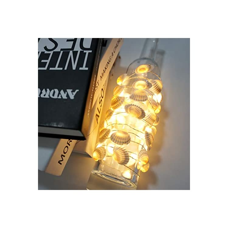 Sea-Shell-String-Lights-Ocean-Theme-Starry-Silver-Wire-Shell-Light-Strand-14ft-40-LED-Decorative-Lighting-Battery-Powered-with-8-Modes-Remote-for-Bedroom-(Shell,-Warm-White)